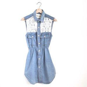 NWT LF Carmar Chambray Lace Dress